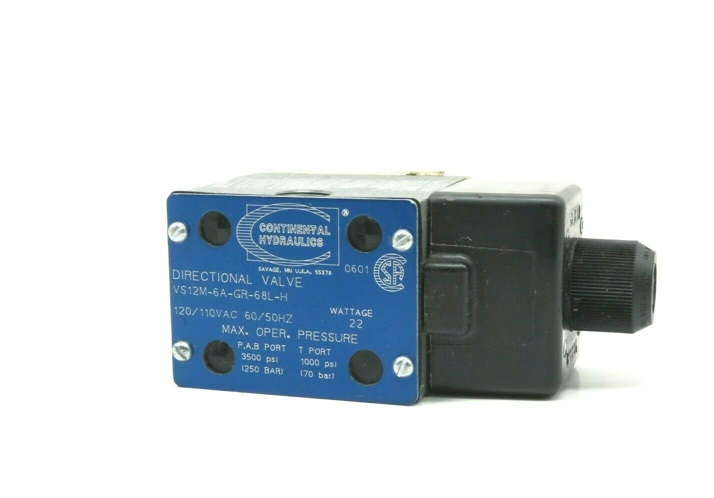 Continental Hydraulics VS12M-6A-GR-68L-H Directional Valve VS12M6AGR68LH