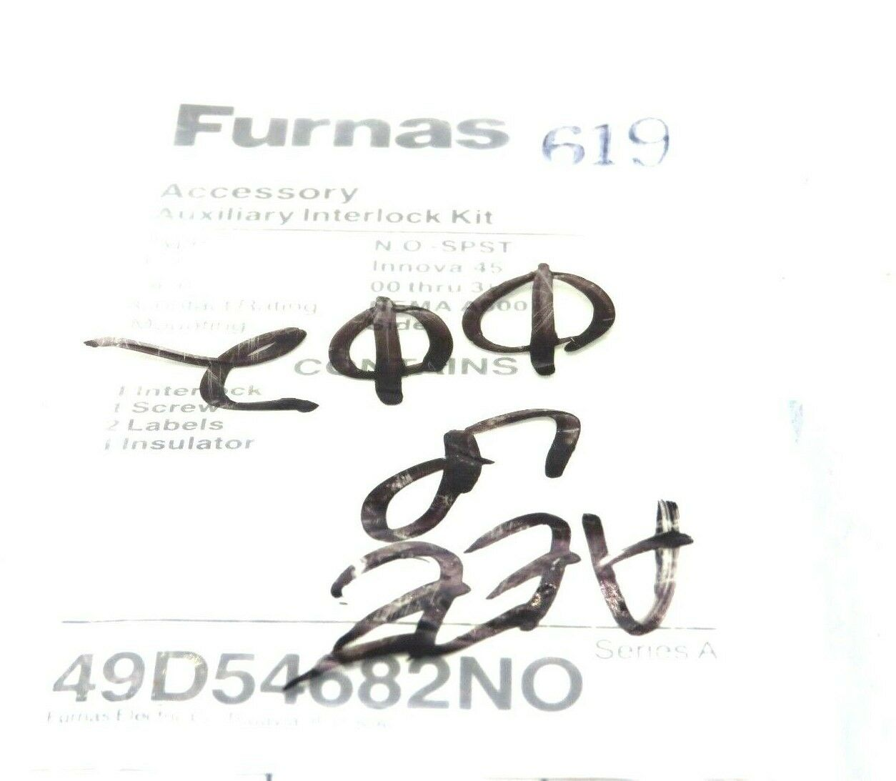 new furnas 49d54682no auxiliary interlock kit series a  u2013 sb industrial supply