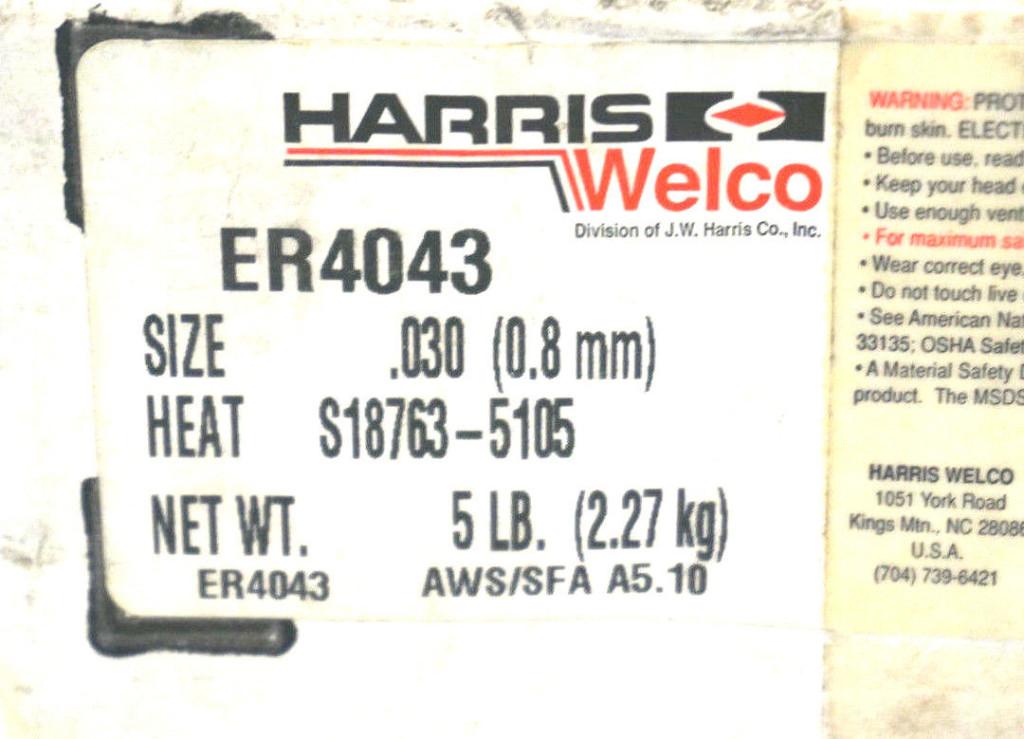 NEW HARRIS WELCO ER4043 WELDING WIRE 5LB - SB Industrial ...
