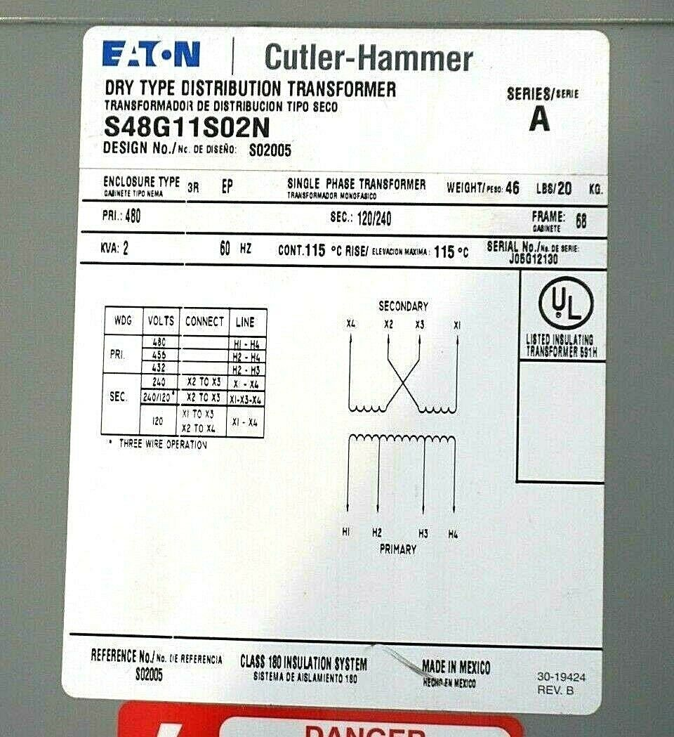 NEW EATON CUTLER HAMMER S48G11S02N TRANSFORMER SER.A 2 KVA TYPE 3R EP 1PH –  SB Industrial Supply, Inc.sb industrial supply
