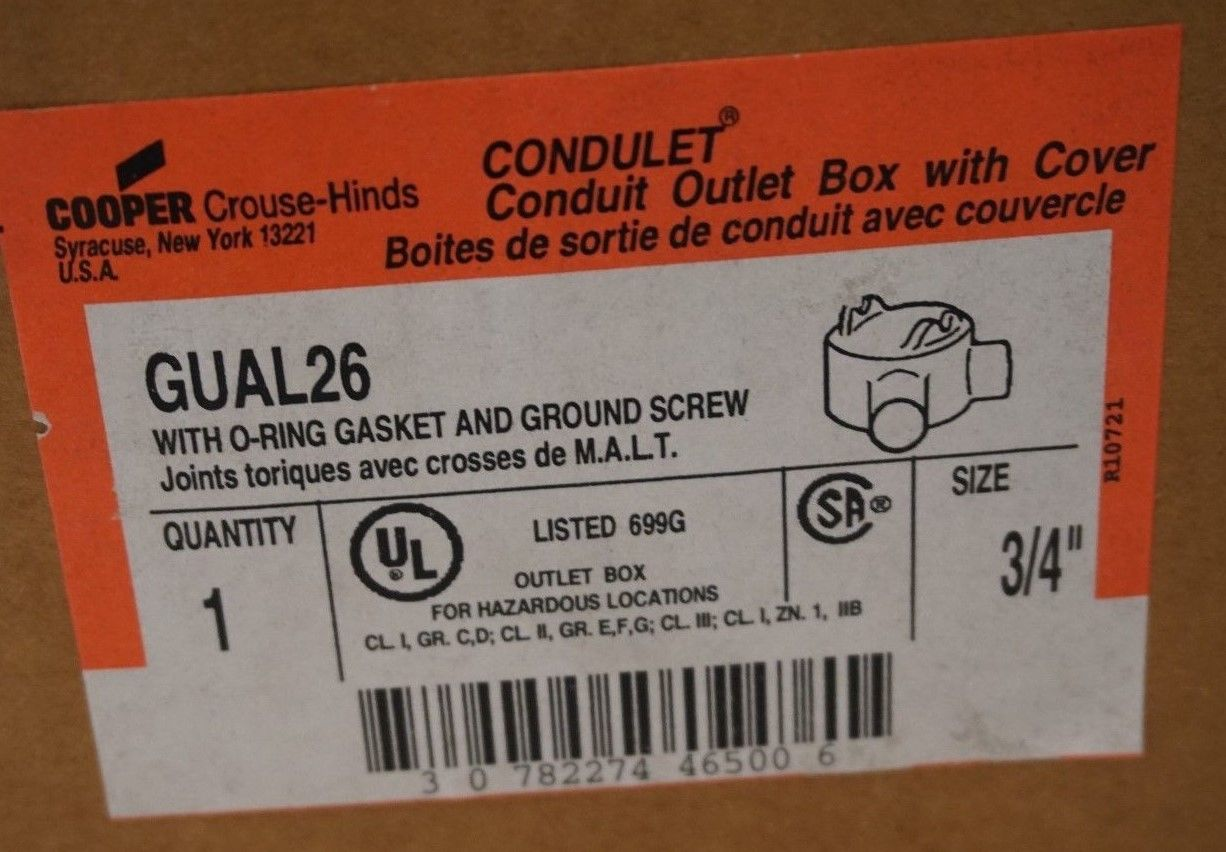 NEW CROUSE HINDS GUAL26 EXPLOSION PROOF 3/4