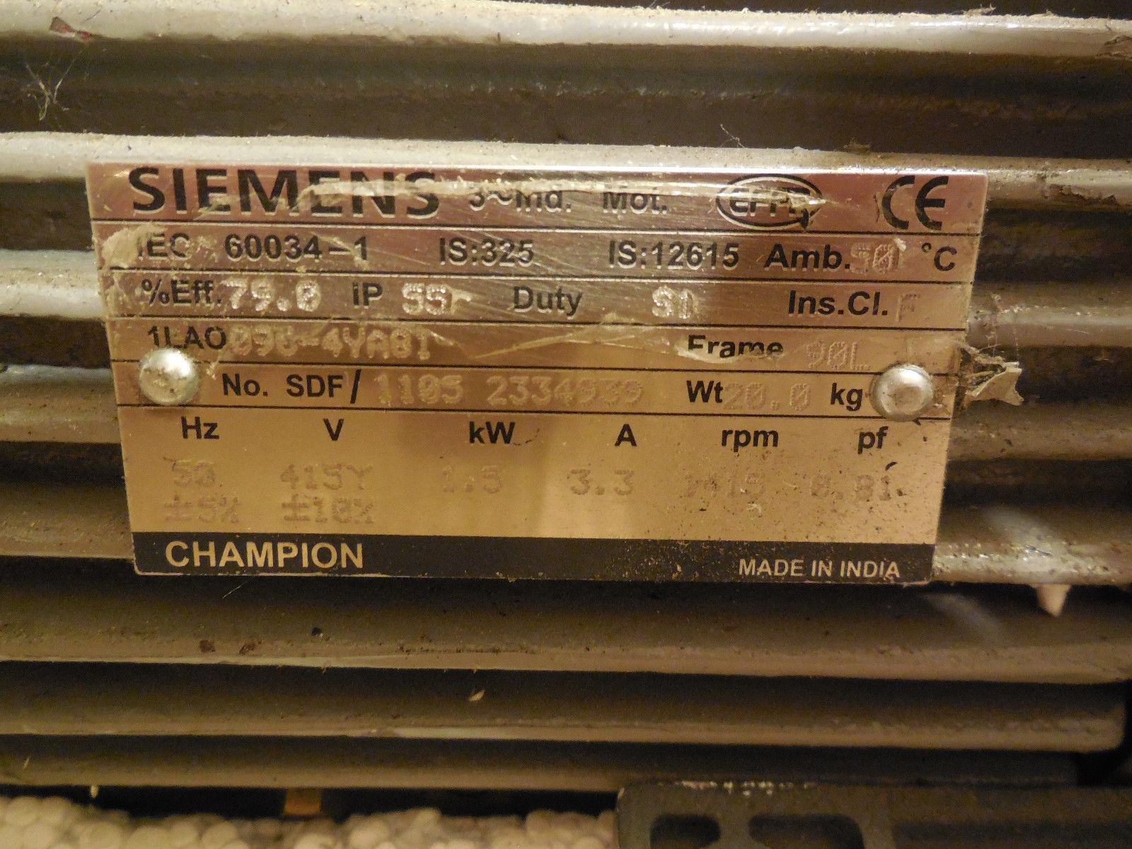 Used Siemens 60034 1 Motor 600341 Sb Industrial Supply
