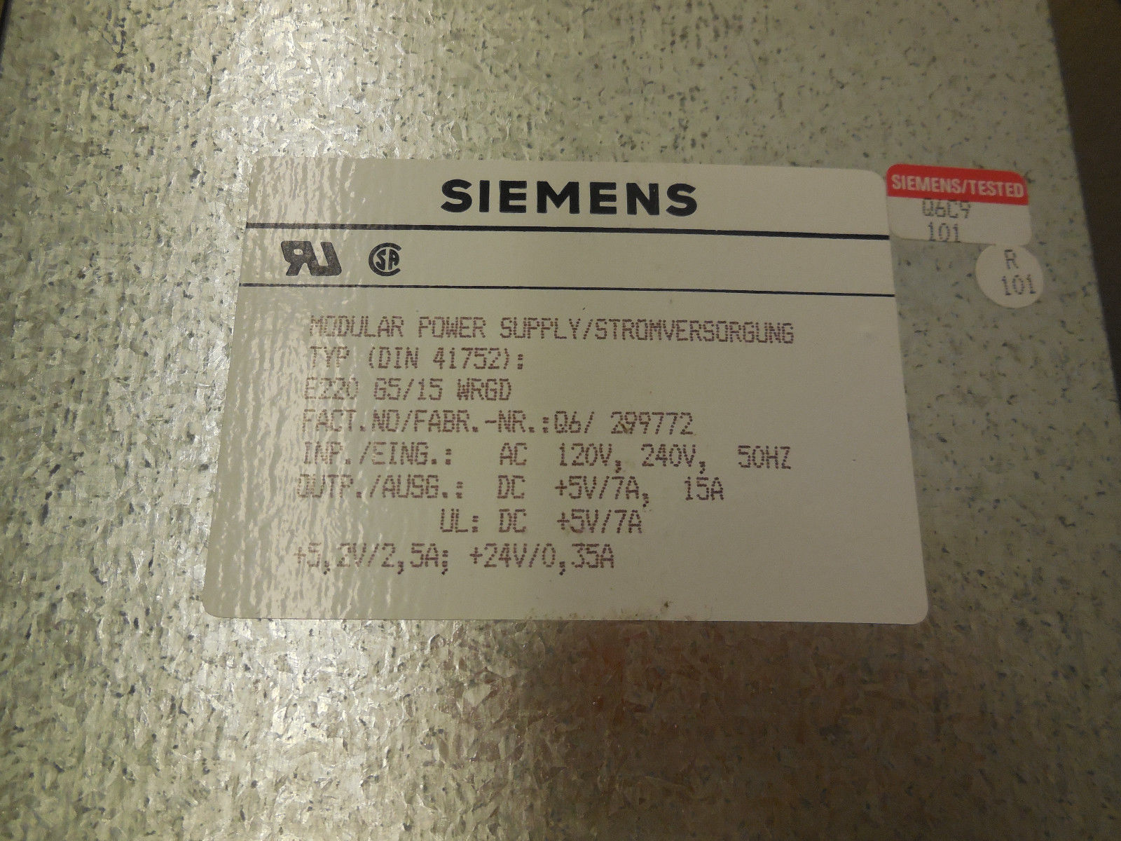 SIEMENS MODULAR POWER SUPPLY DIN 41752