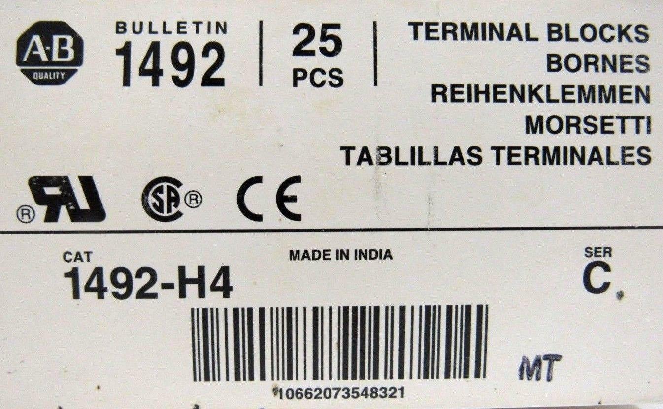 NEW BOX OF 25EA ALLEN BRADLEY 1492-H4 TERMINAL FUSE BLOCKS 1492H4 SER C