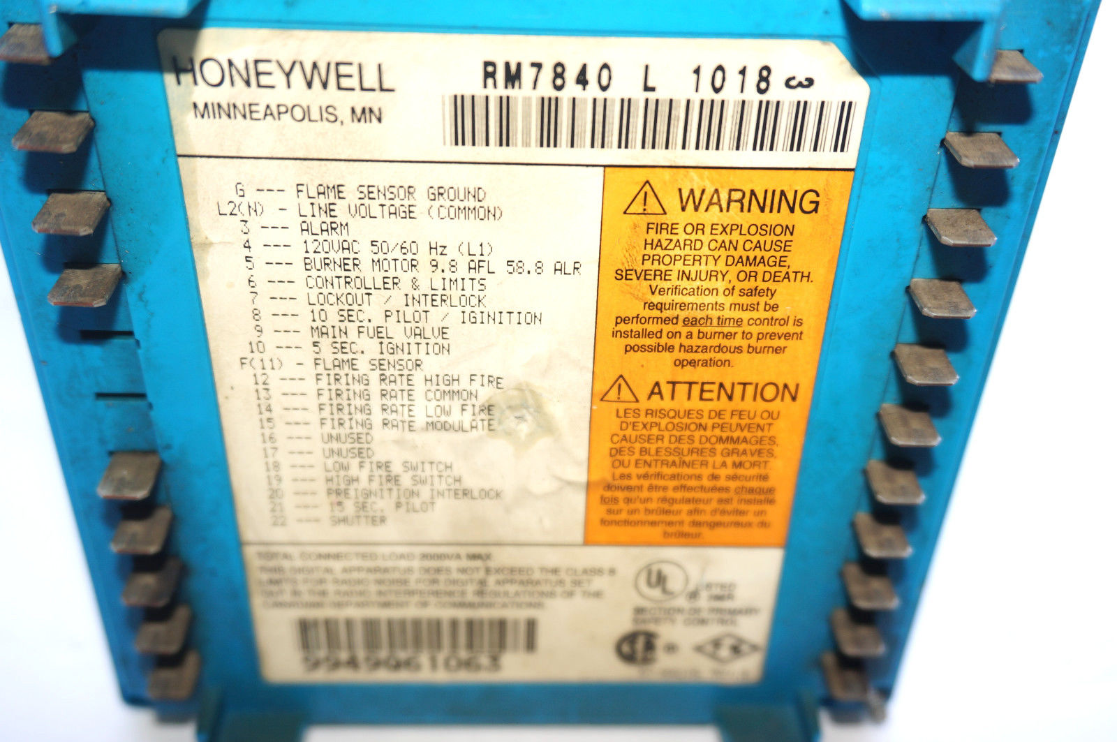 Honeywell Rm7840l1018 Wiring Diagram 36 Images Industrial Rm7840l 1018 Burner Control 351138670189 2 Sb Supply Mro Plc Equipment Parts